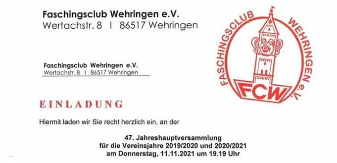 Jahreshauptveranstaltung @ Auenstüble | Wehringen | Bayern | Deutschland